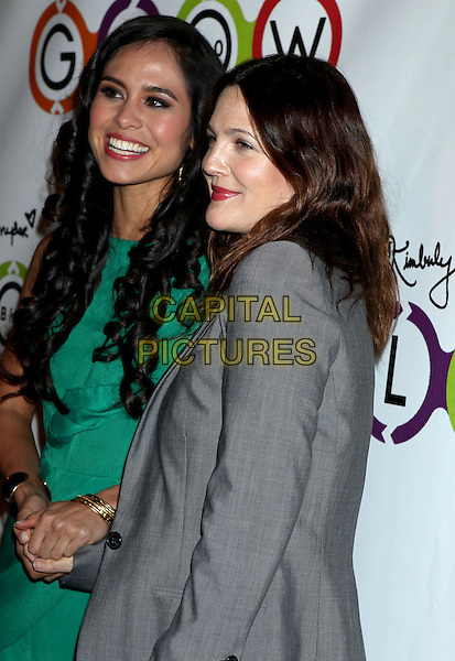 Kimberly Snyder, Drew Barrymore.Opening Of Kimberly Snyder's Glow Bio held at Glow Bio, West Hollywood, California, USA, 14th November 2012..half length grey gray blazer jacket striped top tucked in green dress .CAP/ADM/RE.©Russ Elliot/AdMedia/Capital Pictures.