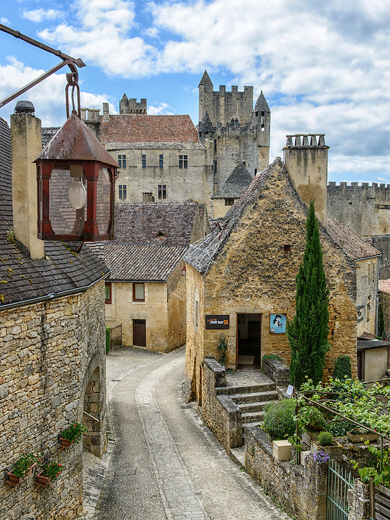 The Château de Beynac as seen from the top of a stairway in the village of Beynac-et-Cazenac, France