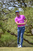 Julian Suri (USA) watches his tee shot on 2 during Round 1 of the Valero Texas Open, AT&amp;T Oaks Course, TPC San Antonio, San Antonio, Texas, USA. 4/19/2018.<br /> Picture: Golffile | Ken Murray<br /> <br /> <br /> All photo usage must carry mandatory copyright credit (&copy; Golffile | Ken Murray)