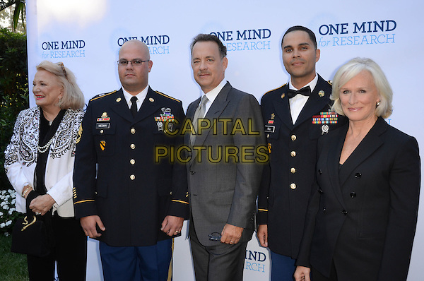 Gena Rowlands, Tom Hanks, Glenn Close.Circle Of Hope Dinner And Entertainment Gala held at Beverly Hills Hotel, Beverly Hills, California, USA..September 19th, 2012.half length black white blazer paisley print pearl necklace grey gray suit uniform solders .CAP/ADM/TW.©Tonya Wise/AdMedia/Capital Pictures.