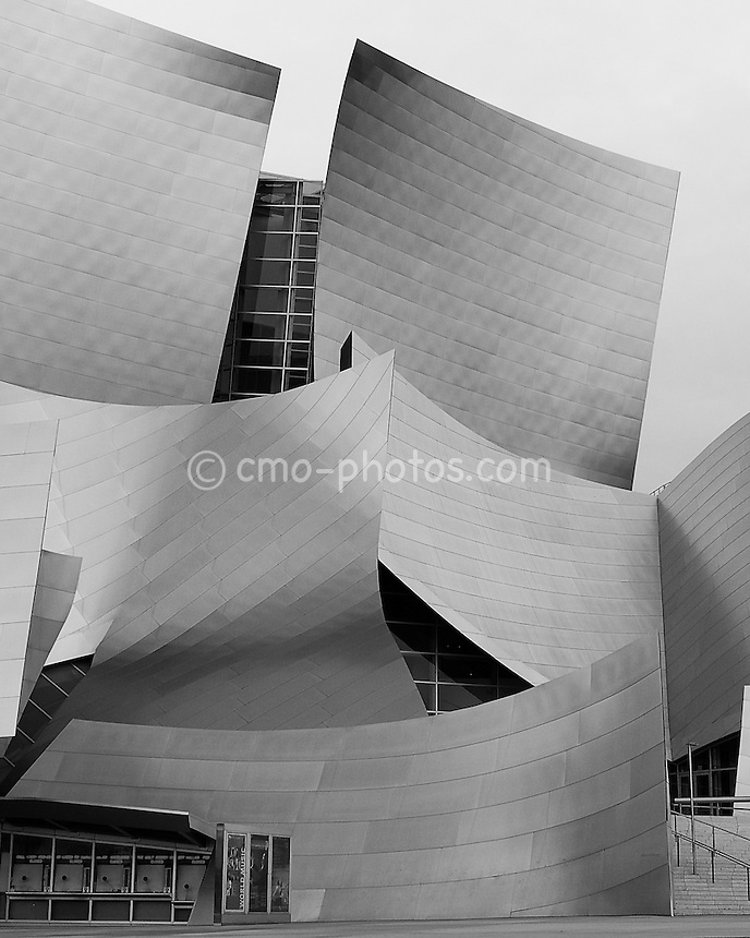 Walt Disney Concert Hall in downtown Los Angeles on a cloudy morning