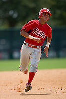 Francisco Diaz #84 of the GCL Phillies hustles towards third base versus the GCL Braves at Disney's Wide World of Sports Complex, July 13, 2009, in Orlando, Florida.  (Photo by Brian Westerholt / Four Seam Images)