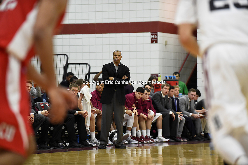 Friday, January 29, 2016: Harvard Crimson head coach Tommy Amaker reacts to game action during the NCAA basketball game between the Cornell Big Red and the Harvard Crimson held at the Lavietes Pavilion in Boston, Massachusetts. Cornell defeats Harvard 65-77. Eric Canha/CSM
