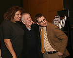 Liesl Tommy, John Kander and Greg Pierce attends the opening night performance photo call of the Vineyard Theatre's 'Kid Victory' at the Vineyard Theatre on February 22, 2017 in New York City.