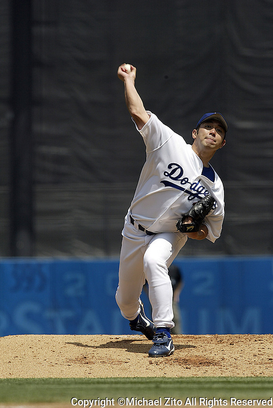 Hideo Nomo In a MLB game played at Dodger Stadium where the Dodgers beat the Marlins 6-2.