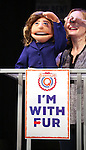 "Hillary Clinton Puppet attends the cast of ""Avenue Q"" Hosts Town Hall With A Debate Between Puppets Hillary Clinton, ""I'm with Fur"" played by Maggie Lakis & Donald Trump, ""Make Puppets Great Again"" played by Rob McClure at the New World Stages on September 26, 2016 in New York City."