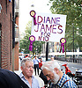 UKIP<br /> final UKIP Leadership hustings debate , Westminster, London, Great Britain <br /> 25th August 2016 <br /> <br /> UKIP activist hold a Diane James for No. 10 placard outside the final UKIP hustings this evening even though Diane James did not show up to this or any of the hustings<br /> <br /> <br /> <br /> <br /> Photograph by Elliott Franks <br /> Image licensed to Elliott Franks Photography Services