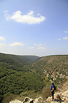 Israel, Upper Galilee, a view of Nahal Kziv from the Crusader fortress Montfort