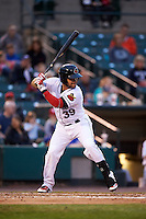 Rochester Red Wings catcher Josmil Pinto (39) at bat during a game against the Lehigh Valley IronPigs on May 15, 2015 at Frontier Field in Rochester, New York.  Rochester defeated Lehigh Valley 5-4.  (Mike Janes/Four Seam Images)