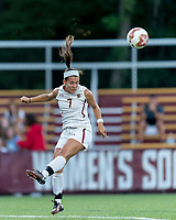 NEWTON, MA - AUGUST 29: Gaby Carreiro #7 of Boston College heads the ball during a game between Boston University and Boston College at Newton Campus Field on August 29, 2019 in Newton, Massachusetts.