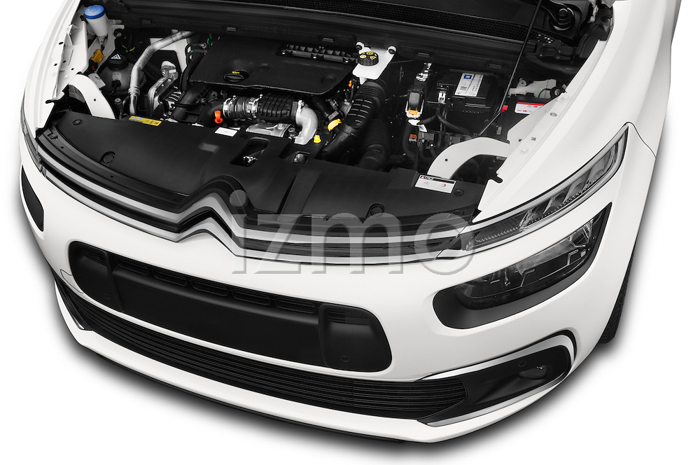 Car Stock 2016 Citroen Grand-C4-Picasso Shine 5 Door Mini MPV Engine  high angle detail view