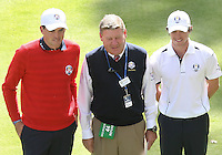 30 SEP 12  Keegan Bradley and Rory McIlroy pose with the match referee before Sundays Singles matches  at The 39th Ryder Cup at The Medinah Country Club in Medinah, Illinois.                                          (photo:  kenneth e.dennis / kendennisphoto.com)