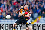 Kieran Donaghy, Austin Stacks, in action against Chrissy McKaigue, Slaughtneil Austin Stacks in action against  Slaughtneil in the All Ireland Club Football Semi Final in Portlaoise on Sunday.
