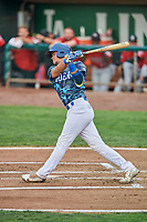 Marco Hernandez (38) of the Ogden Raptors bats against the Billings Mustangs at Lindquist Field on August 17, 2018 in Ogden, Utah. Billings defeated Ogden 6-3. (Stephen Smith/Four Seam Images)
