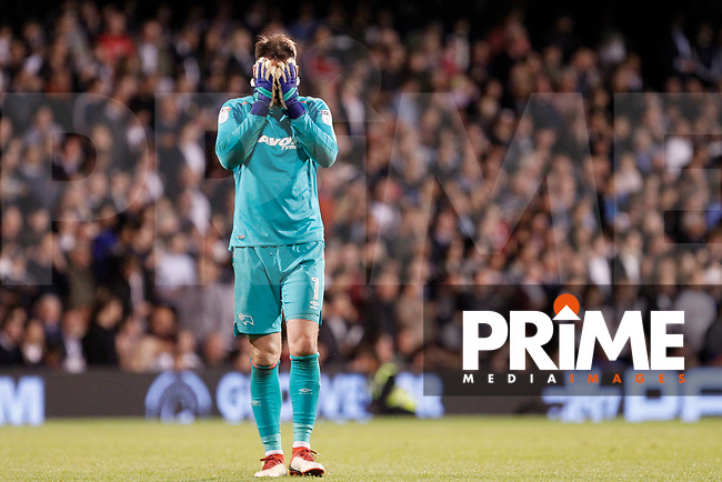 Scott Carson of Derby County head in hands during the Sky Bet Championship play off semi final 2nd leg match between Fulham and Derby County at Craven Cottage, London, England on 15 May 2018. Photo by Carlton Myrie / PRiME Media Images.