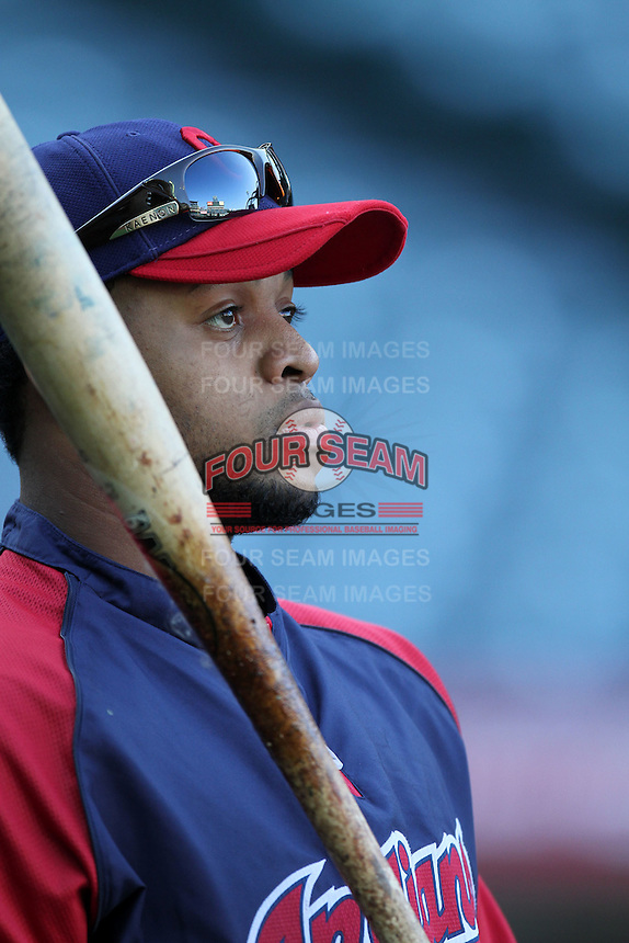 Carlos Santana #41 of the Cleveland Indians before game against the Los Angeles Angels at Angel Stadium in Anaheim,California on April 11, 2011. Photo by Larry Goren/Four Seam Images