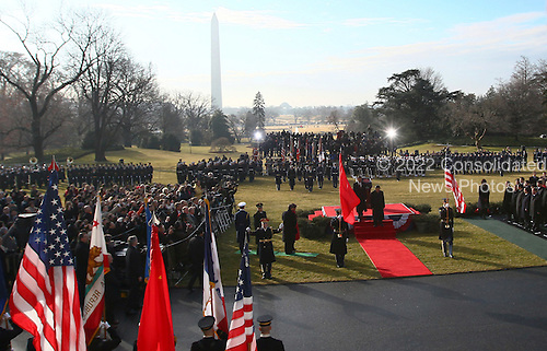 A general view as  United States President Barack Obama walks with President Hu Jintao of China at the end of a State arrival ceremony on the South Lawn of the White House, Wednesday, January 19, 2011 in Washington, DC. Obama and Hu are scheduled to meet in the Oval Office later in the day, hold a joint press conference and attend a State dinner. .Credit: Mark Wilson / Pool via CNP