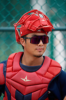 GCL Red Sox catcher Justin Qiangba in the bullpen during a Gulf Coast League game against the GCL Pirates on August 1, 2019 at Pirate City in Bradenton, Florida.  GCL Red Sox defeated the GCL Pirates 11-3.  (Mike Janes/Four Seam Images)