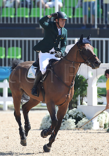 14.08.2016. Rio de Janeiro, Brazil. Stephan de Freitas Barcha of Brazil rides his horse Landpeter Do Feroleto during the Jumping Individual 1st Qualifier of the Equestrian competition at the Olympic Equestrian Centre during the Rio 2016 Olympic Games in Rio de Janeiro, Brazil, 14 August 2016.