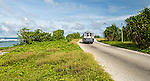 Local bus alone the coastal road on the island of Nauru