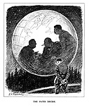 The Fates Decide. (Hitler looks downcast at the Eagle's Nest of his Berchtesgaden mountain reteat as the silhouettes of Roosevelt, Churchill and Stalin decide the future of Europe in a large crystal ball)