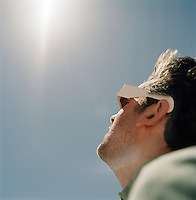 Tourist watching the 2006 Eclipse in the Sahara Desert, Libya
