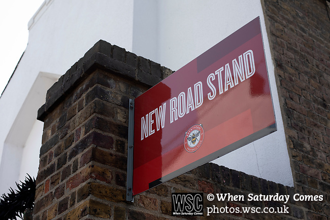 An exterior view of the New Road stand entrance pictured before Brentford hosted Leeds United in an EFL Championship match at Griffin Park. Formed in 1889, Brentford have played their home games at Griffin Park since 1904, but are moving to a new purpose-built stadium nearby. The home team won this match by 2-0 watched by a crowd of 11,580.