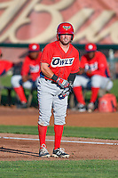 Troy Montgomery (4) of the Orem Owlz takes his lead off of first base against the Ogden Raptors in Pioneer League action at Lindquist Field on June 27, 2016 in Ogden, Utah. Orem defeated Ogden 4-3. (Stephen Smith/Four Seam Images)