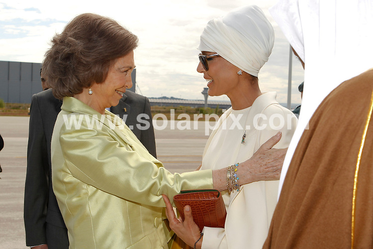 **ALL ROUND PICTURES FROM SOLARPIX.COM**                                             **WORLDWIDE SYNDICATION RIGHTS EXCEPT SPAIN - NO SYNDICATION IN SPAIN**                                                                                  Caption: Caption: The Spanish King Juan Carlos, and Queen Sofia, meet the Emir of Qatar Sheikh Hamad bin Khalifa Al Thani, and one of his 4 wives - Jaquesa Mozah Bint Nassar. Barajas Airport, Madrid, Spain. 25 April 2011                                                                              This pic: Queen Sofia, Jaquesa Mozah Bint Nassar                                                                                       JOB REF: 13194 DMS Dolores       DATE: 25_04_2011                                                            **MUST CREDIT SOLARPIX.COM OR DOUBLE FEE WILL BE CHARGED**                                                                      **MUST AGREE FEE BEFORE ONLINE USAGE**                               **CALL US ON: +34 952 811 768 or LOW RATE FROM UK 0844 617 7637**