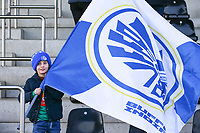 20200121- Oostakker, BELGIUM : Illustrative picture showing a young KAA Gent Ladies supporter with the flag, during the semi final of Belgian Cup 2020 , women's soccer game between KAA Gent Ladies and R Standard de Liège Femina, on Sunday 26th January 2020, at at the PGB stadion in Oostakker, Ghent, BELGIUM . PHOTO: SPORTPIX.BE | SEVIL OKTEM