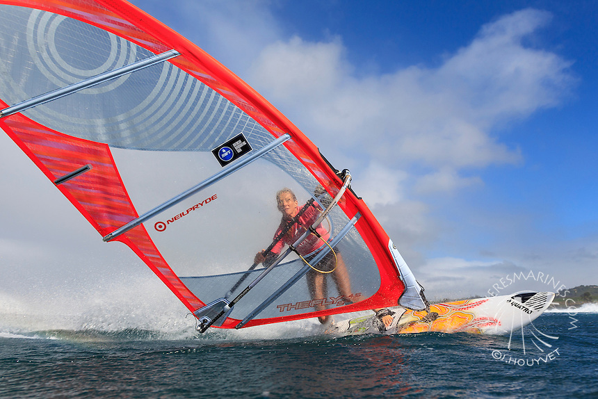 Angela Cochran at the 6th and final stop of the 2012 American Windsurfing Tour (AWT), in Ho'okipa Beach Park (Maui, Hawaii, USA)