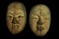 Two student's masks in the process of carving: on left by Kitagawara Seiun, on right by beginner student.