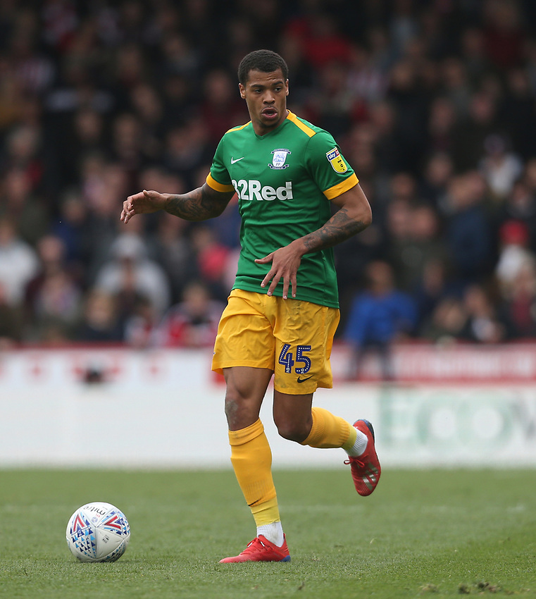 Preston North End's Lukas Nmecha<br /> <br /> Photographer Rob Newell/CameraSport<br /> <br /> The EFL Sky Bet Championship - Brentford v Preston North End - Sunday 5th May 2019 - Griffin Park - Brentford<br /> <br /> World Copyright © 2019 CameraSport. All rights reserved. 43 Linden Ave. Countesthorpe. Leicester. England. LE8 5PG - Tel: +44 (0) 116 277 4147 - admin@camerasport.com - www.camerasport.com