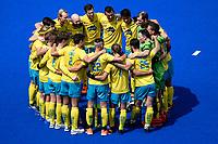 2nd February 2020; Sydney Olympic Park, Sydney, New South Wales, Australia; International FIH Field Hockey, Australia versus Great Britain; Australia huddle before the match starts