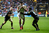 2nd December 2017, Rioch Arena, Coventry, England; Aviva Premiership rugby, Wasps versus Leicester; Valentino Mapapalangi of Leicester Tigers grips the ball as he tries to break the tackle