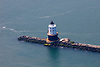 Aerial views of the Harbor of Refuge Lighthouse in the Delaware Bay