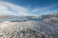 The lake Joekulsarlon at the Vatnajoekull glacier. The lake ist the biggest glacier lake in Iceland. The ice floats from the glacier into the North Atlantic.<br /> Der Gletschersee Joekulsarlon am Fusse des Vatnajoekull-Gletschers. Das Eis treibt vom Gletscher durch den See in den Nordatlantik.<br /> 19.3.2016, Joekulsarlon<br /> Copyright: Christian-Ditsch.de<br /> [Inhaltsveraendernde Manipulation des Fotos nur nach ausdruecklicher Genehmigung des Fotografen. Vereinbarungen ueber Abtretung von Persoenlichkeitsrechten/Model Release der abgebildeten Person/Personen liegen nicht vor. NO MODEL RELEASE! Nur fuer Redaktionelle Zwecke. Don't publish without copyright Christian-Ditsch.de, Veroeffentlichung nur mit Fotografennennung, sowie gegen Honorar, MwSt. und Beleg. Konto: I N G - D i B a, IBAN DE58500105175400192269, BIC INGDDEFFXXX, Kontakt: post@christian-ditsch.de<br /> Bei der Bearbeitung der Dateiinformationen darf die Urheberkennzeichnung in den EXIF- und  IPTC-Daten nicht entfernt werden, diese sind in digitalen Medien nach &sect;95c UrhG rechtlich geschuetzt. Der Urhebervermerk wird gemaess &sect;13 UrhG verlangt.]