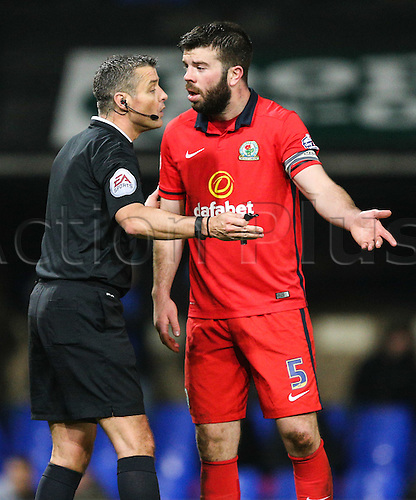15.03.2016. Portman Road, Ipswich, England. Skybet Championship. Ipswich Town versus Blackburn Rovers. Blackburn Rovers defender Grant Hanley (5) has a disagreement with the referee