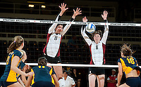 STANFORD, CA - September 2:  Charlotte Brown (11) and Cassidy Lichtman (8) during a volleyball match against UC Irvine, September 2, 2010 in Stanford, California. Stanford won 3-0.