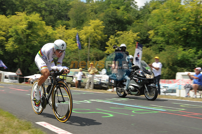 World Time Trial Champion Tony Martin (GER) Omega Pharma-Quick Step powers his way to victory during Stage 20 Individual Time Trial of the 2014 Tour de France running 54km from Bergerac to Perigueux. 25th July 2014.<br /> Photo ASO/G.Demouveaux/www.newsfile.ie