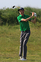 Tiarnan McLarnon (Masereene) on the 18th during Round 4 of the East of Ireland Amateur Open Championship 2018 at Co. Louth Golf Club, Baltray, Co. Louth on Monday 4th June 2018.<br /> Picture:  Thos Caffrey / Golffile<br /> <br /> All photo usage must carry mandatory copyright credit (&copy; Golffile | Thos Caffrey)