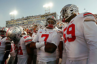 Ohio State Buckeyes quarterback Dwayne Haskins Jr. (7) and offensive lineman Isaiah Prince (59) prepare to take the field for warm-ups prior to the NCAA football game against the Penn State Nittany Lions at Beaver Stadium in University Park, Pa. on Sept. 29, 2018. [Adam Cairns / Dispatch]