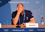 Mike Hay (TeamGB Chef de Mission for Pyeongchang2018) puts his head in his hands. TeamGB final press conference. Main press centre. Alpensia. Pyeongchang2018 winter Olympics. Republic of Korea. 25/02/2018. ~ MANDATORY CREDIT Garry Bowden/SIPPA - NO UNAUTHORISED USE - +44 7837 394578
