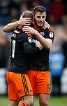 Jack O'Connell of Sheffield Utd celebrates with scorer Matt Done of Sheffield Utd during the English League One match at Vale Park Stadium, Port Vale. Picture date: April 14th 2017. Pic credit should read: Simon Bellis/Sportimage