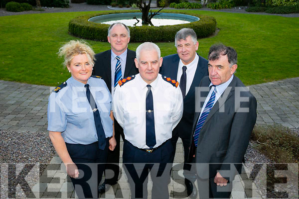 Speakers at the Neighbourhood Watch Annual Meeting for the greater Tralee area at the Ballygarry House Hotel recently were l-r: Garda Fidelma O'Leary (Victims Services Officer), Garda Jim Murphy (Senior Crimes Examiner), Chief Superintendent David Sheahan (Kerry Garda Division), Diarmuid Cronin (Community Alert Development Officer) and Sean Brosnan (Kerry IFA Chairman).