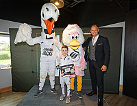 Lee Trundle with child mascot and Cyril the Swan in the LT10 Lounge prior to the Sky Bet Championship match between Swansea City and Bristol City at the Liberty Stadium, Swansea, Wales, UK. Saturday 25 August 2018