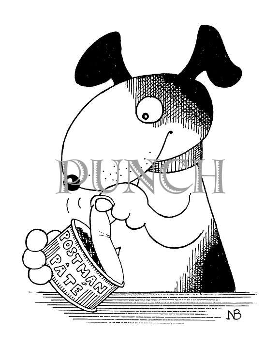 (A dog opening a tin of Postman Pate)