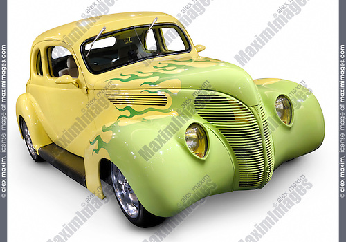 Yellow green Hot rod Ford Coupe 1938 retro car with flame pattern painted on it Isolated silhouette with clipping path on white background