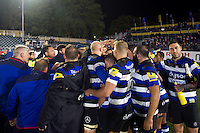 The Bath Rugby team celebrate the win after the match. Aviva Premiership match, between Bath Rugby and Sale Sharks on October 7, 2016 at the Recreation Ground in Bath, England. Photo by: Patrick Khachfe / Onside Images