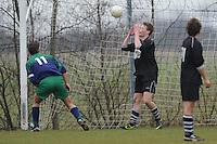 VOETBAL: ALDEBOARN:  14-04-2013, Eredivisie 2012-2013, Oldeboorn - Aengwirden, degradatiewedstrijd 4e klasse A, Eindstand 2-3, Roelof vd Glas (#11) | Aengwirden) Robbin Faber (#4) I Oldeboorn), ©foto Martin de Jong
